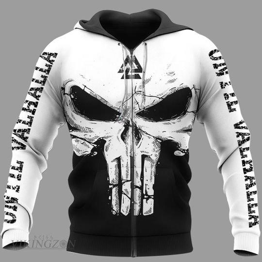 viking skull until valhalla all over printed zip hoodie
