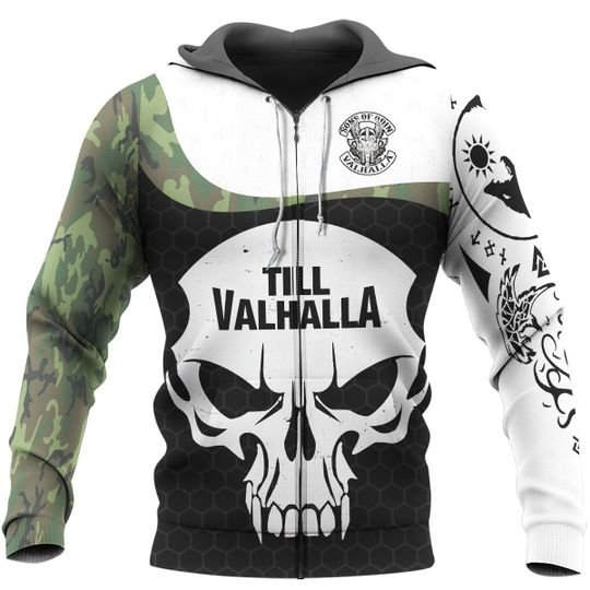 viking sons of odin till valhalla all over printed zip hoodie