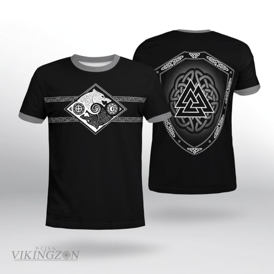 viking symbol wolf all over printed tshirt