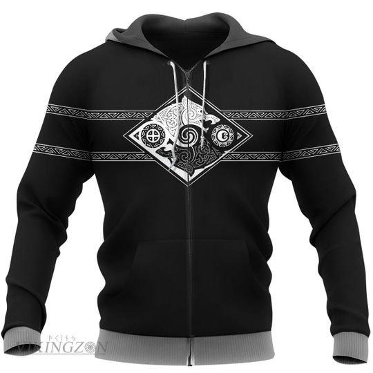 viking symbol wolf all over printed zip hoodie
