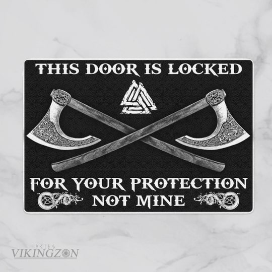 viking this door is locked for your protection not mine full printing doormat 2