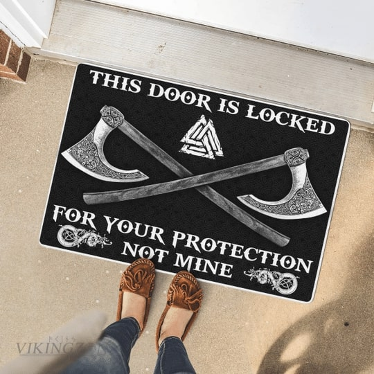 viking this door is locked for your protection not mine full printing doormat 4