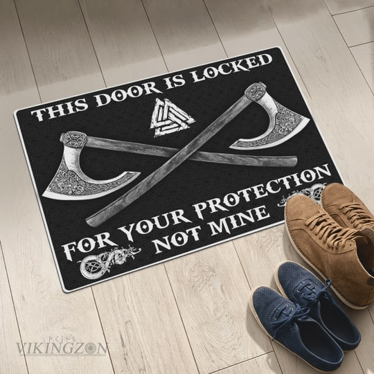 viking this door is locked for your protection not mine full printing doormat 5