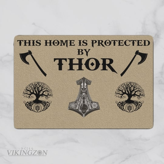 viking this home is protected by thor full printing doormat 2