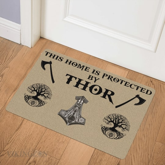 viking this home is protected by thor full printing doormat 3