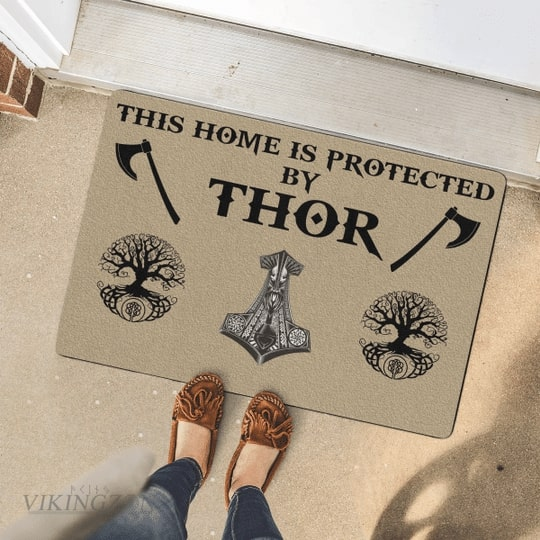 viking this home is protected by thor full printing doormat 4