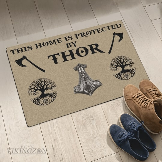 viking this home is protected by thor full printing doormat 5