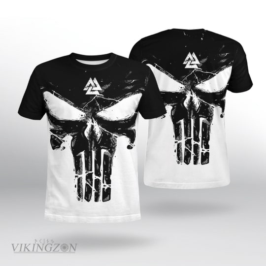 viking until valhalla the skull all over printed tshirt