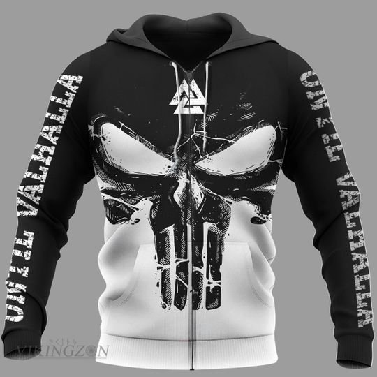 viking until valhalla the skull all over printed zip hoodie