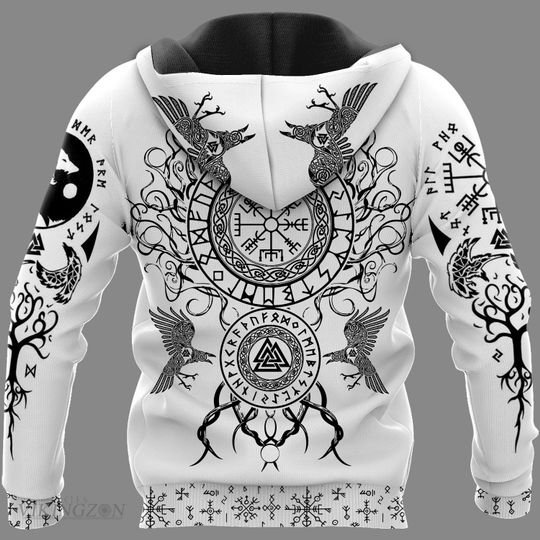 viking warrior symbols all over printed hoodie - back