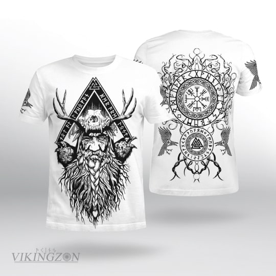 viking warrior symbols all over printed tshirt