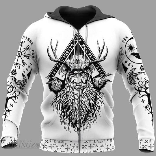 viking warrior symbols all over printed zip hoodie