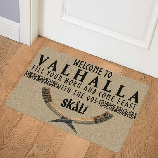 viking welcome to valhalla fill your horn and come feast with the Gods full printing doormat 3