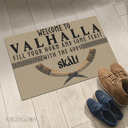 viking welcome to valhalla fill your horn and come feast with the Gods full printing doormat 5