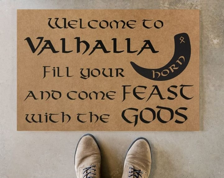 viking welcome to valhalla full printing doormat 2