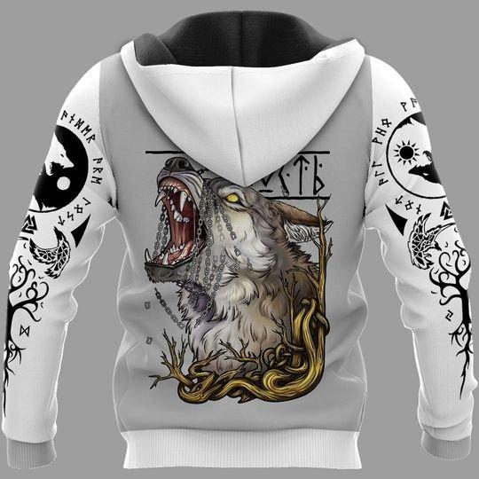 viking wolf fenrir all over printed hoodie - back