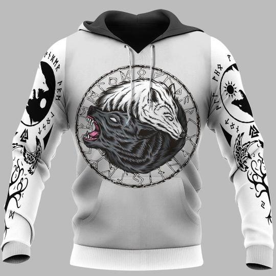 viking wolf fenrir all over printed hoodie