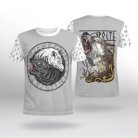 viking wolf fenrir all over printed tshirt