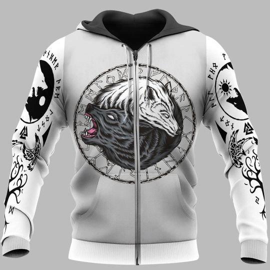 viking wolf fenrir all over printed zip hoodie