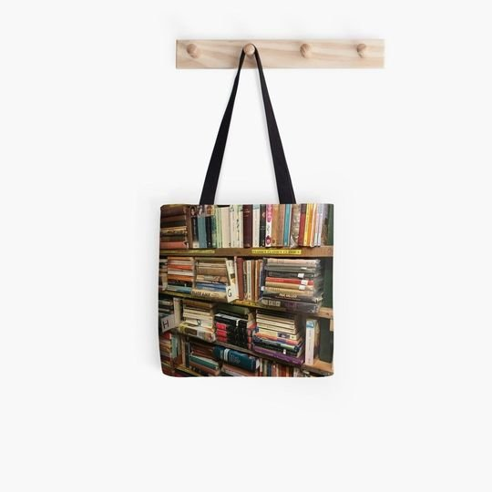 vintage book lovers reading all over printed tote bag 5