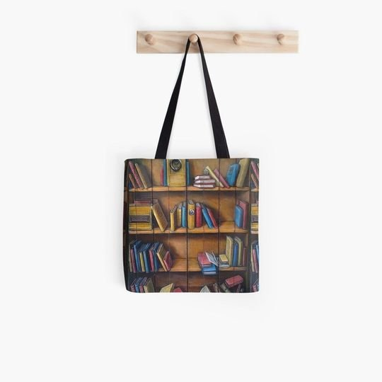 vintage book lovers reading bookshelf all over printed tote bag 2