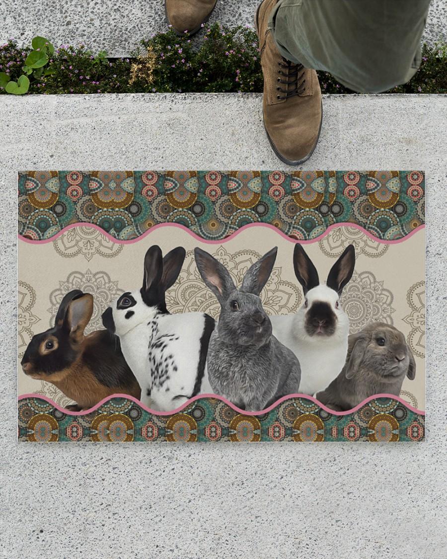 vintage mandala rabbit full printing doormat 2