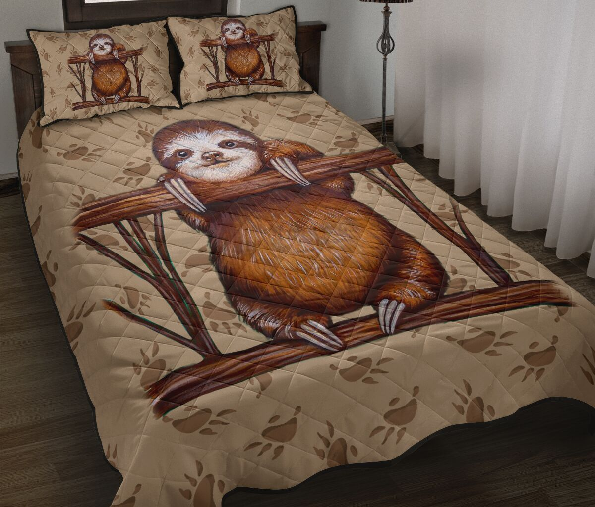 vintage sloth all over print bedding set 2