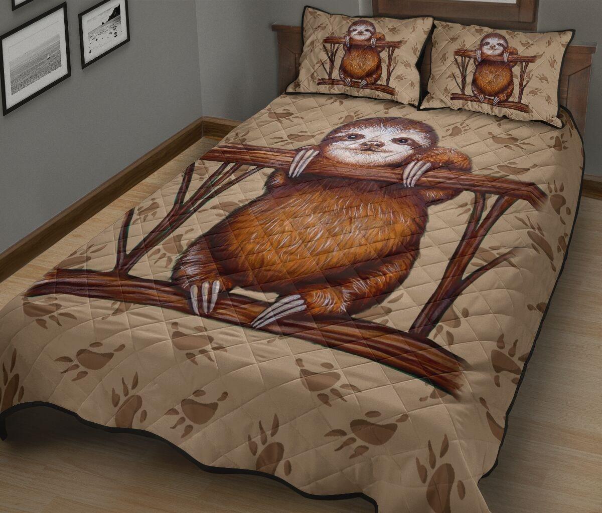 vintage sloth all over print bedding set 3