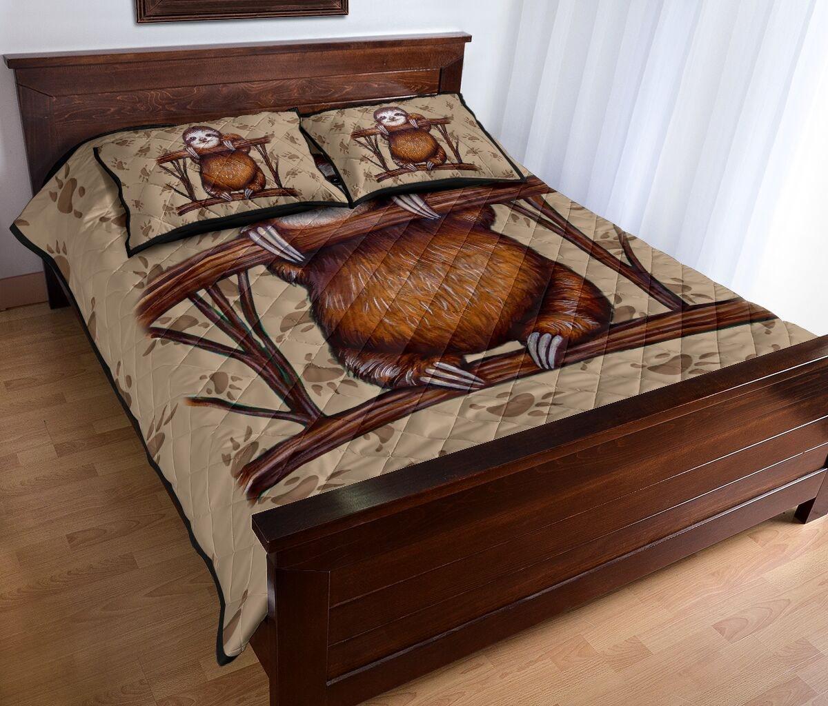 vintage sloth all over print bedding set 4