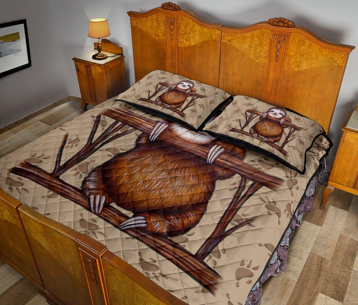 vintage sloth all over print bedding set 5