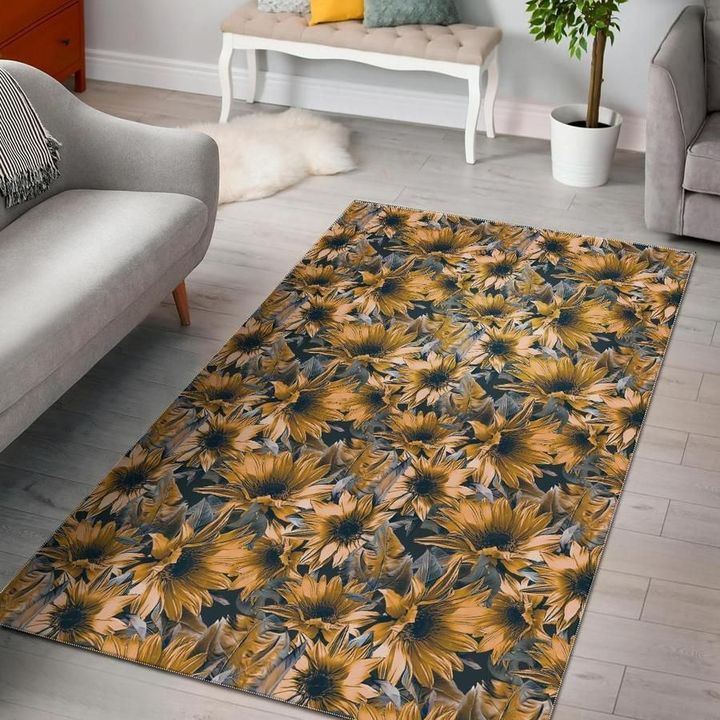 vintage sunflower all over printed area rug 3