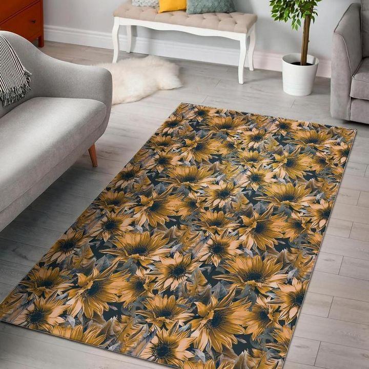 vintage sunflower all over printed area rug 4