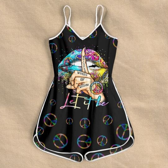vintage whisper words of wisdom cool lips let it be peace signal rompers 2