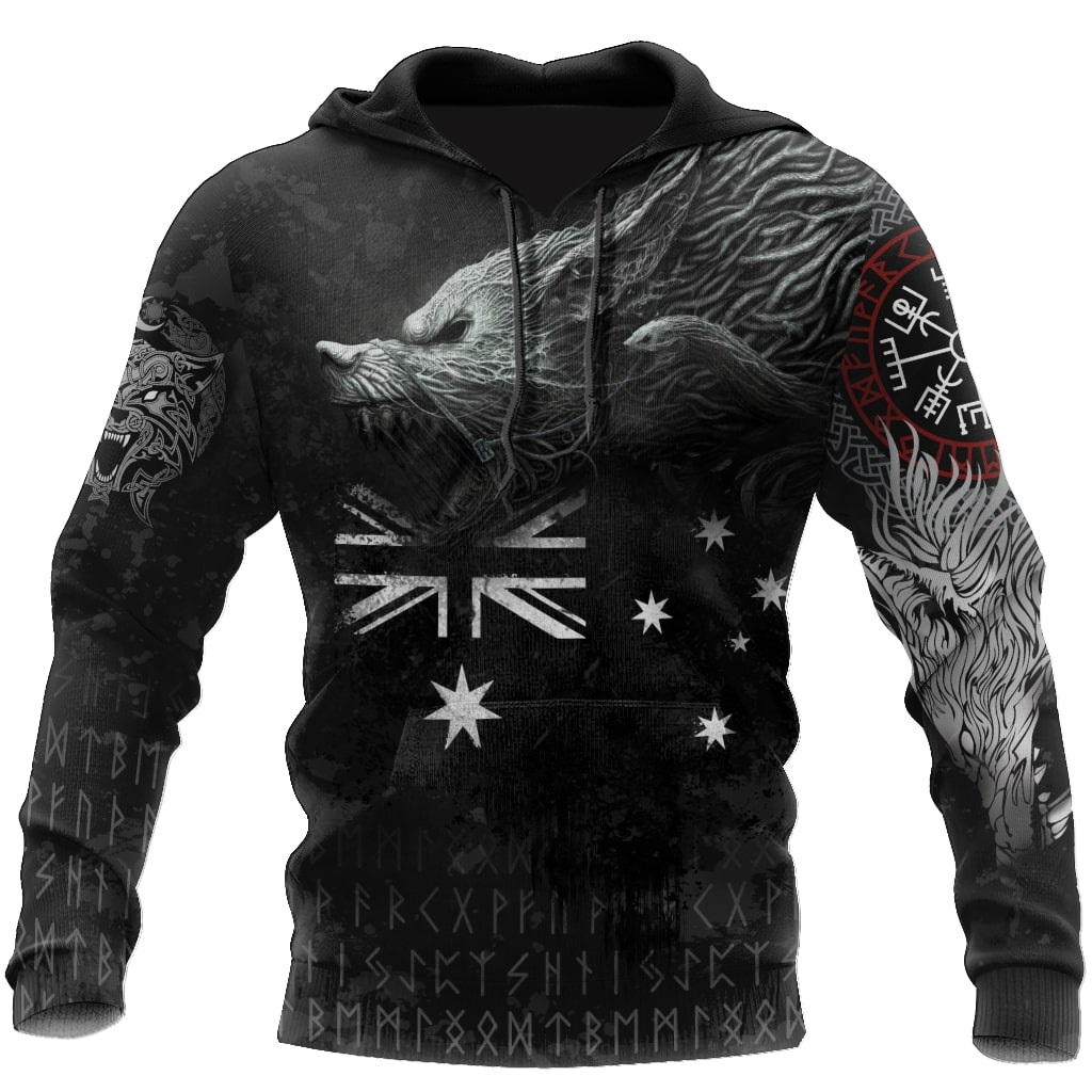 australia flag viking fenrir all over printed shirt 1