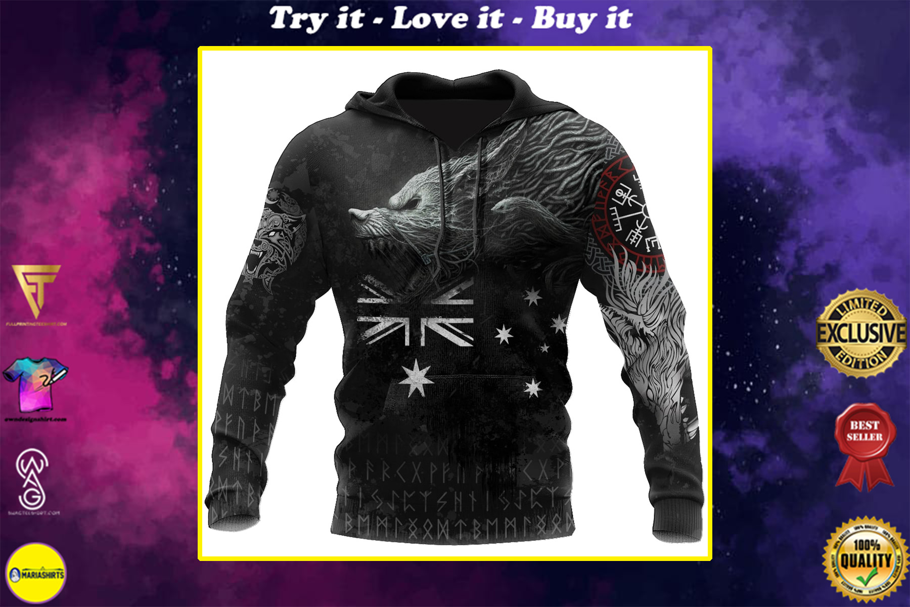 australia flag viking fenrir all over printed shirt