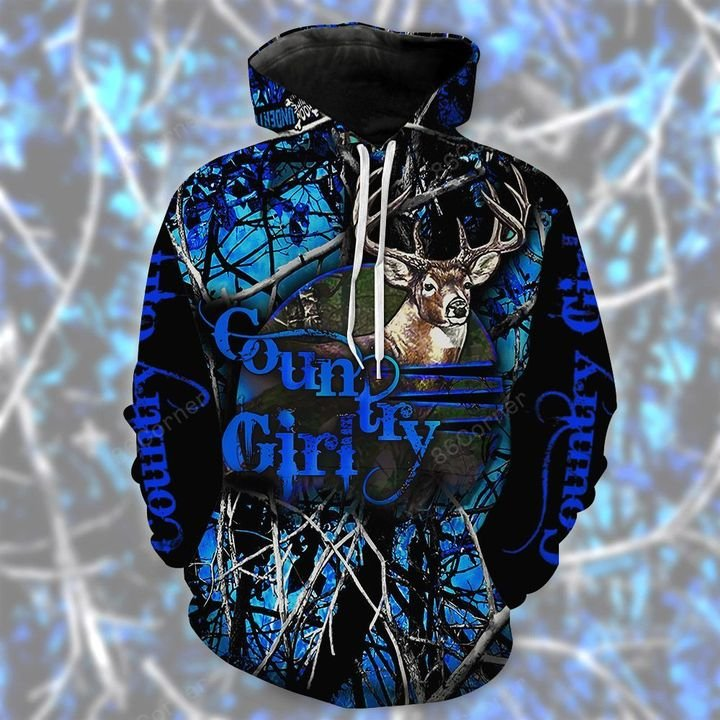 black and blue country girl for hunter all over printed shirt 1