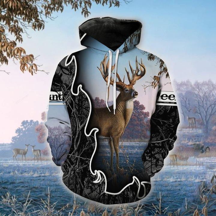 blue hunting deer for hunter all over printed shirt 1