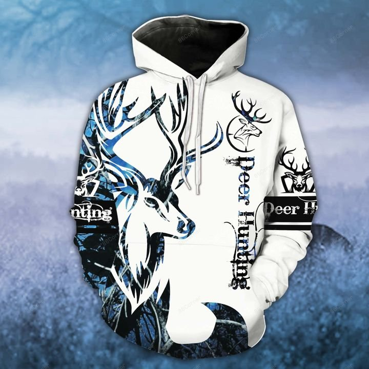 blue neon deer hunting for hunter all over printed shirt 1
