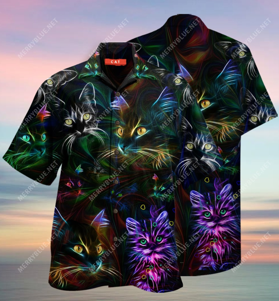 colorful cat all over printed hawaiian shirt 3