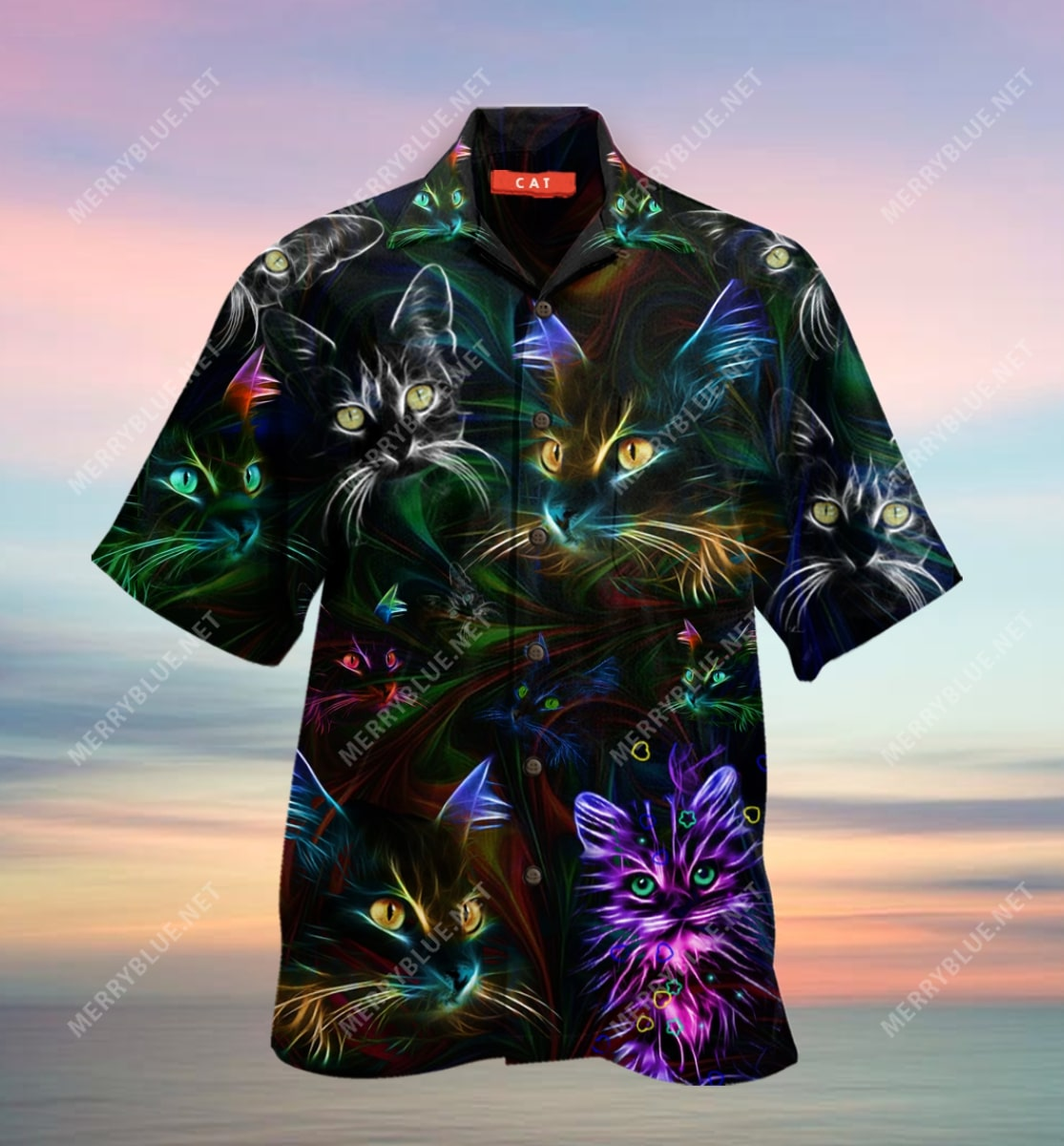 colorful cat all over printed hawaiian shirt 4