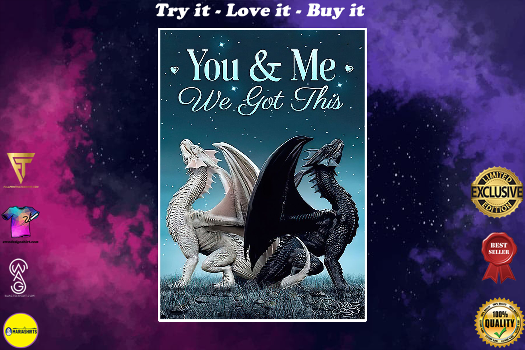couple dragon you and me we got this poster