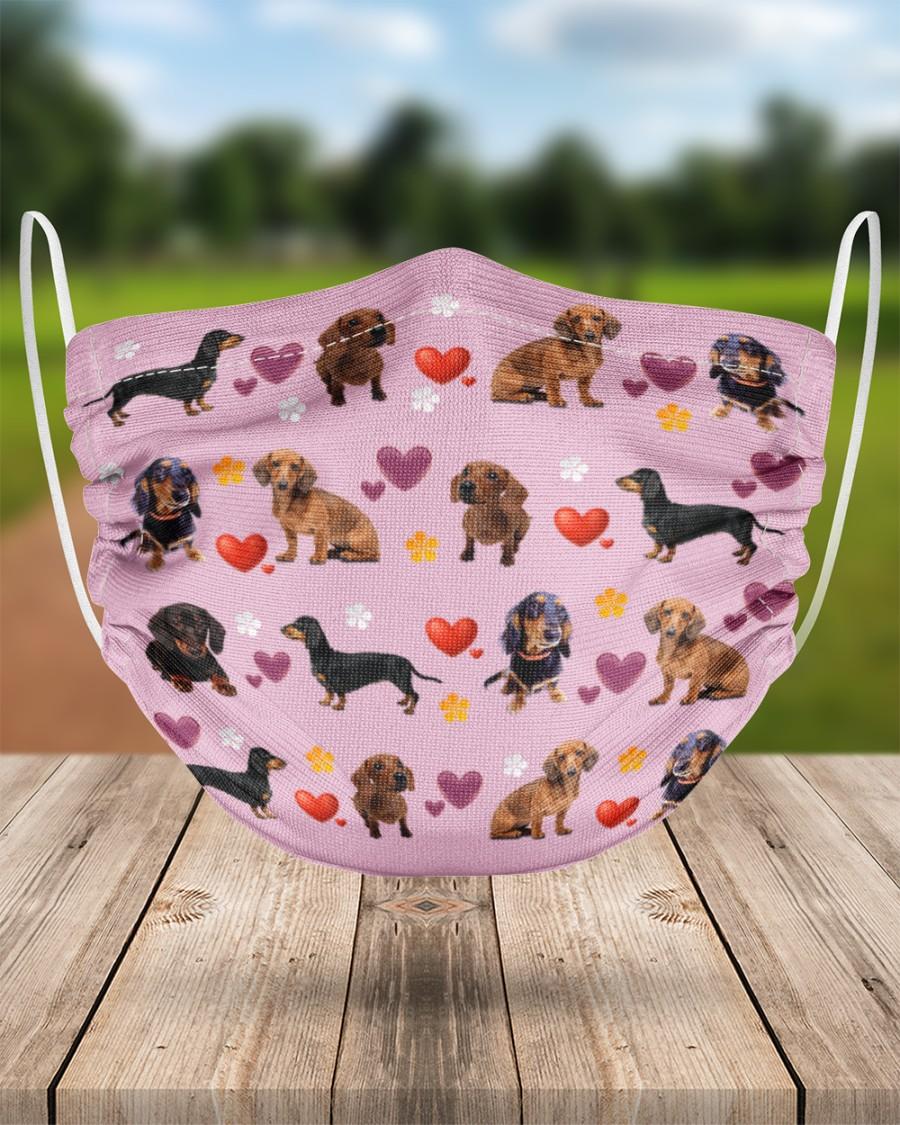 dachshund lovely valentine face mask 4