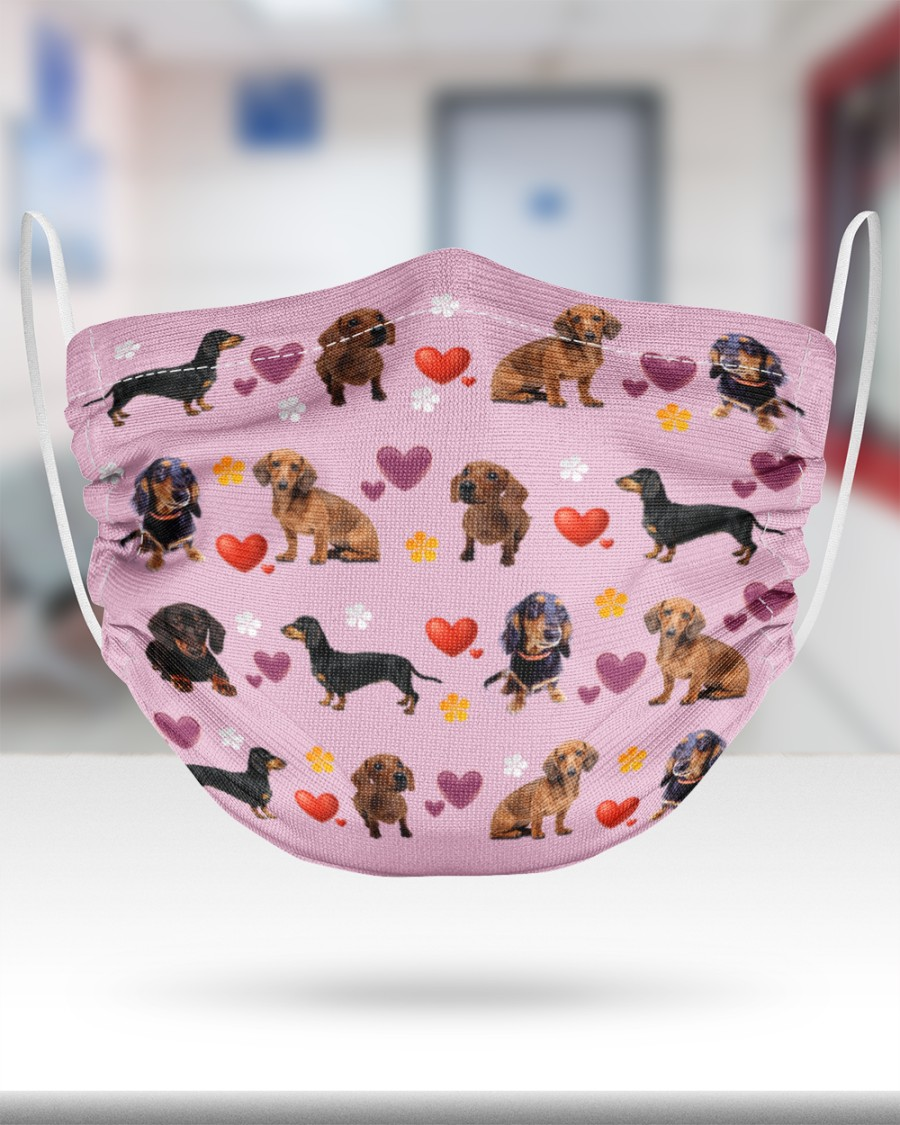 dachshund lovely valentine face mask 5