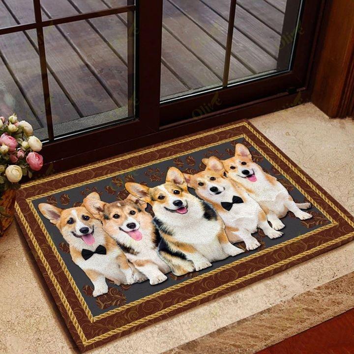 dog corgi welcoming you doormat 2