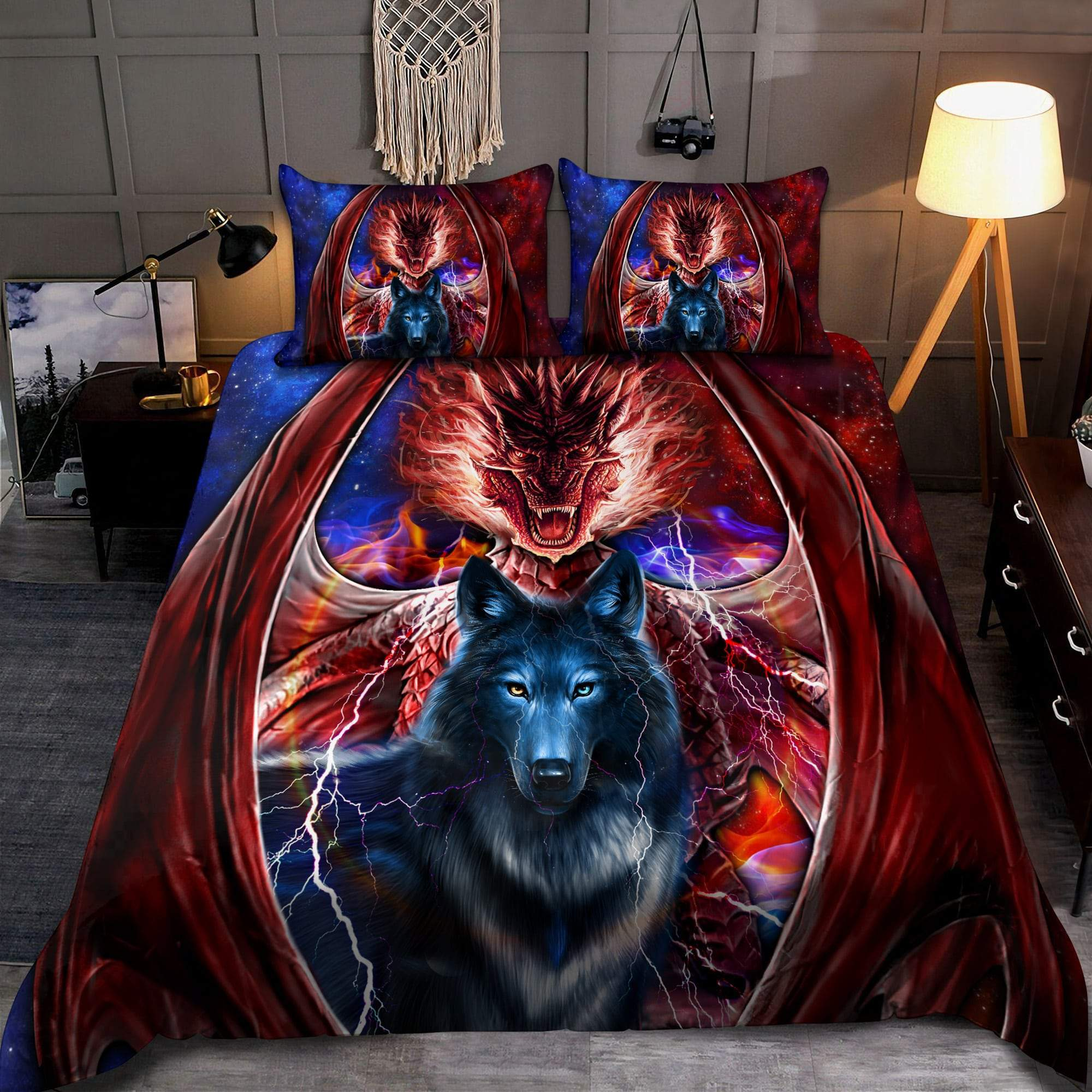 dragon and wolf all over print bedding set 2