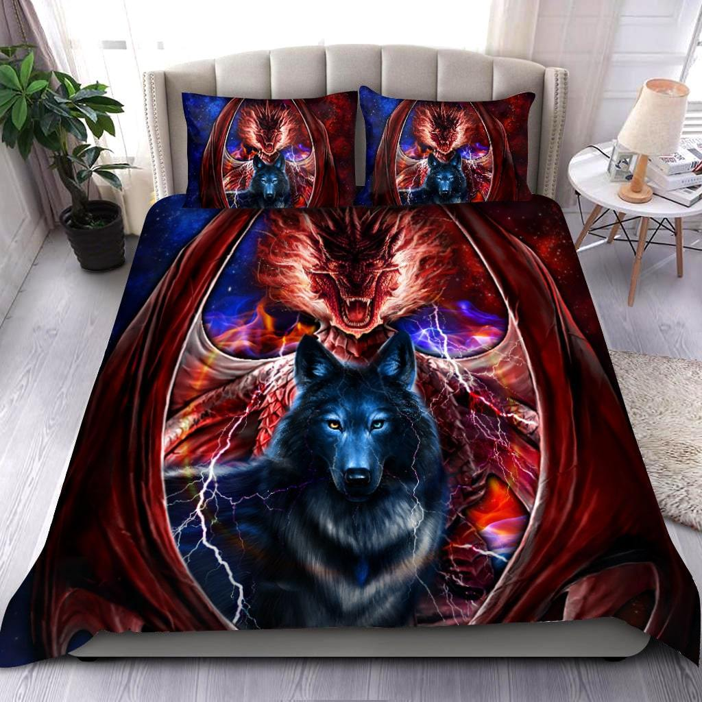 dragon and wolf all over print bedding set 3