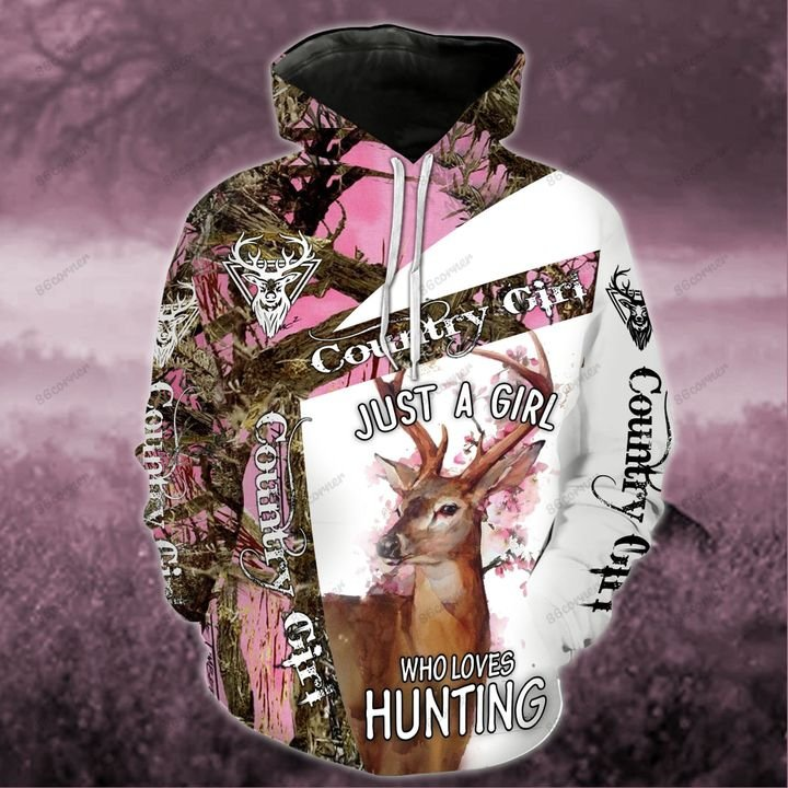 just a girl who loves hunting all over printed shirt 1