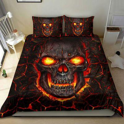 lava skull all over print bedding set 2