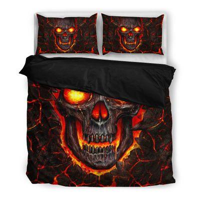 lava skull all over print bedding set 3