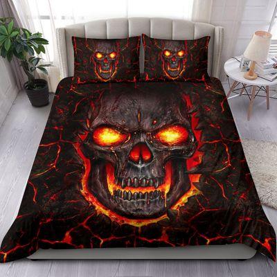 lava skull all over print bedding set 4